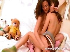 brunette lezzies friends kissing