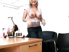 Office Softcore blonde piercing