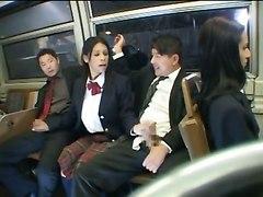 schoolgirl wild public blowjob handjob train