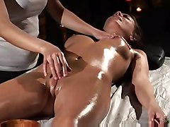 oiled brunette fingering massage