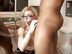 Double Penetration Interracial glasses mature pussy
