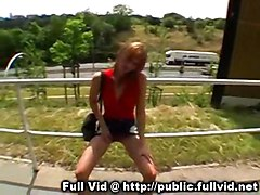 redhead public outdoors reality exhibitionist