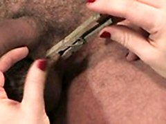 Tied Male Slave Gets Dick And Balls Tortured