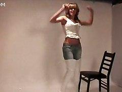 jeans brunette boots solo teasing fetish