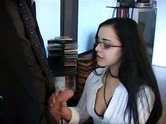 stockings cumshot hardcore blowjob brunette glasses pussyfucking faciak