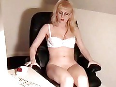 Secretaries Softcore blonde solo dildo white lingerie