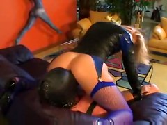 stockings pussy blonde fishnet lingerie latex fetish heels cunnilingus submission slave mask mistress femdom dominatrix leather garter oralsex hood smother facesit
