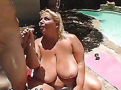 BBW Outdoor big tits pool fucking