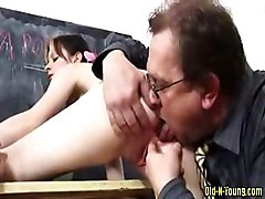 Little girl gets ass licked before she gets fucked by old mens