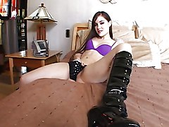 Masturbation Black-haired Boots Caucasian High Heels Masturbation Pornstar Solo Girl Toys Vaginal Masturbation Sasha Grey