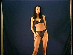 Lingerie Black-haired Caucasian Lingerie Solo Girl Striptease