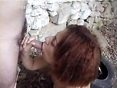 outdoor car brunette stockings blowjob pussyfucking anal asstomouth cumshot