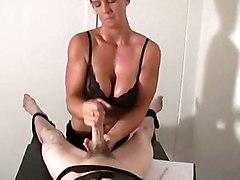blonde oiled handjob fetish femdom