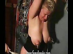 BDSM Bondage blonde mature slave busty domination weird