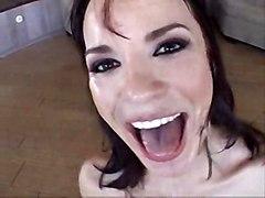 cumshot brunette cuminmouth cumswallow cumglass