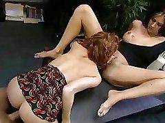 Office Riding Threesome big tits redhead
