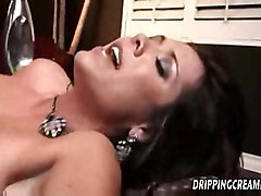 hardcore creampie blowjob brunette trimmed gagging bigtits bed pussytomouth pussyfucking cuminpussy spoons throatfucking