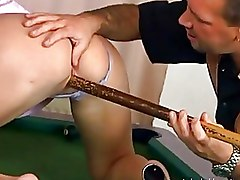 Group Sex MMF billiard table fucking boots