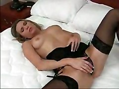 lingerie teasing tight big tits masturbation solo fingering stockings