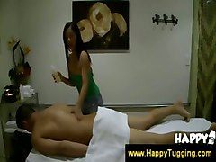 Asian Woman Gives Thai Massage