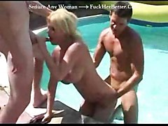 sunny day busty milf sandwich pool cocksuck blond pussylick anal shaved