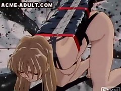 A sexy anime slavegirl is humiliated in different ways  A dominatrix fingers her pussy   She has her arms bound  and then a muscular master forces her to pee on the floor