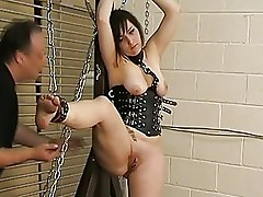 BDSM Bondage fisted slave leather corset whipped