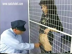 Police officer pulls pussy lips of beautiful slave with great body trough prison bars