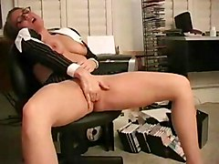 Masturbation Blonde Blonde Caucasian Glamour Masturbation Office Secretary Shaved Solo Girl Toys Vaginal Masturbation
