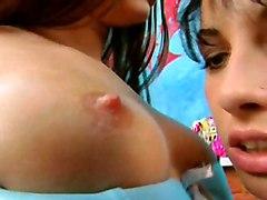Teens Lesbian Lingerie Black-haired Brunette Caucasian Lesbian Lingerie Masturbation Piercings Shaved Teen Toys Vaginal Masturbation