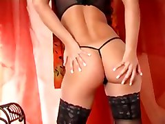 pussy finger blonde stockings panties masturbate