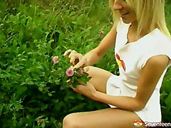 Softcore Blonde Dildo Masturbation Outdoor Shaved Skinny Solo Solo girl teen