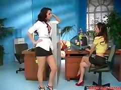 brunette lesbian reality secretary toys dildo