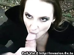 cumshot facial hardcore blowjob brunette public outdoors reality straight exhibitionist