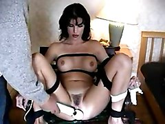 Fetish Black-haired Bondage Caucasian Couple Masturbation Toys Vaginal Masturbation