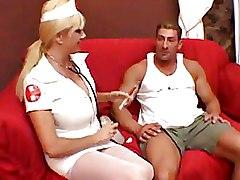 Big Tits Nurses pussy licking white stockings