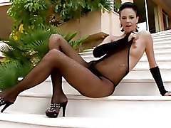 BodyStocking Outdoor Thongs boobs finger