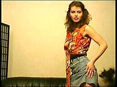 Brunette Caucasian Hairy Solo Girl Striptease