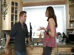 affair kitchen brunette fucking tits
