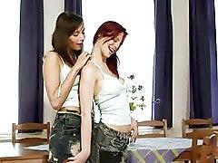 Kissing Lesbian Teen boobs