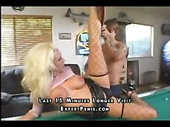 nasty blond busty cocksuck shaved pooltable