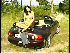 Public Masturbation Black-haired Car Caucasian Masturbation Public Solo Girl Vaginal Masturbation