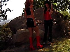 Lesbian Public Fetish Lingerie Redhead Black-haired Boots Caucasian Fetish Latex Lesbian Licking Vagina Lingerie Oral Sex Outdoor Piercings Public Redhead Rimming Shaved Strap-on Tattoos
