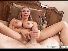 blonde milf handjob bigtits fetish footjob