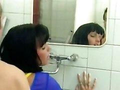 Vintage Bathroom Black-haired Blowjob Caucasian Couple Cum Shot Oral Sex Pornstar Vaginal Sex Vintage Anita Blond