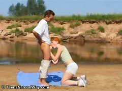 teen hardcore blowjob shaved redhead young pale smalltits ontop pussytomouth pussyfucking pinkpussy shorthair outdoors