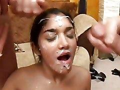 Bukkake Facials blowjob brunettes