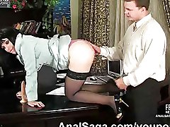 Anal Secretaries brunettes stockings