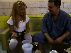 blonde schoolgirl drunk couch college stockings teen panties blowjob pussylicking riding hardcore tight skinny cumshot facial retro classic vintage reality