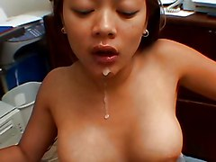 Blowjob Asian Cumshot POV Asian Blowjob Brunette Couple Cum Shot Office Oral Sex POV Kimmy Kahn